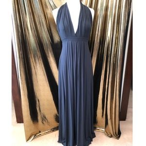 Tart Maxi Halter Dress Steel Gray Sz M